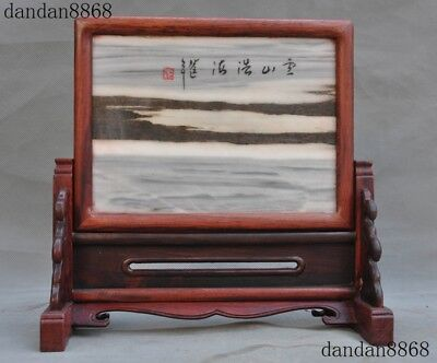 China Huanghuali wood inlay Natural Marble Natural Landscape Screen Byobu Statue