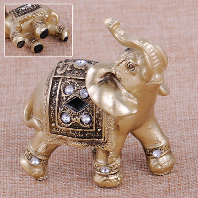 "3.5"" Feng Shui Elegant Elephant Trunk Statue Lucky Wealth Figurine Home Decor"