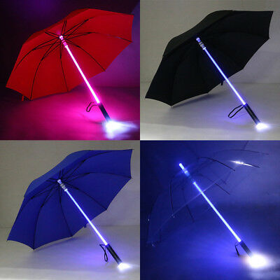 Creative Light Up Umbrella 7 Colour changing LED Flashing Lightsaber UK