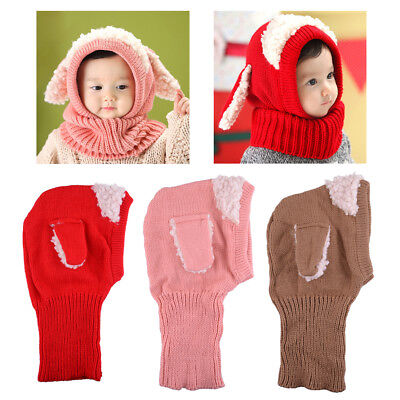 Cute New Kids Baby Toddler Knitted Winter Warm Coif Hooded Scarf Earflap Cap Hat