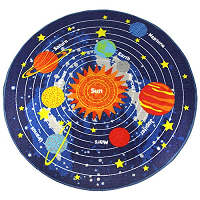 HEBE Kids Area Rugs Solar System Round Children's Fun Educational Learning Play