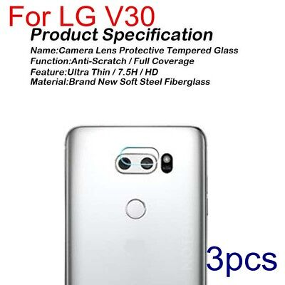 3X For LG V30 Genuine Rear Camera Lens Tempered Glass Protector Guard Film Cover
