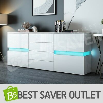 High Gloss Modern Buffet Sideboard Cabinet 2 Doors 4 Drawers Cupboard w/RGB LED