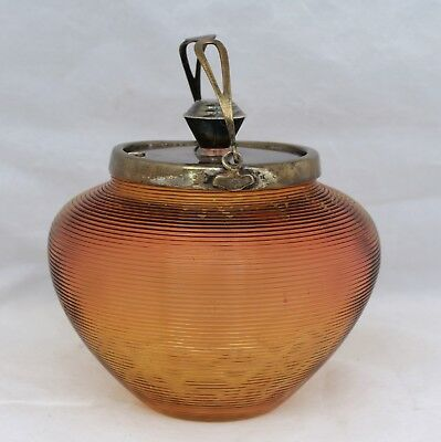 Ribbed Amber Glass Condiment/Sugar Bowl With Elkington Silver Plate - Circa 1900