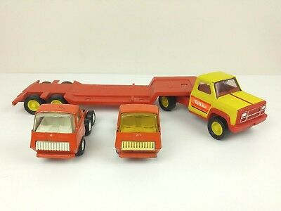 Lot of 3 Tonka Toys - Yellow Red Truck Lowboy Flatbed and 2 Mini Orange Cabs