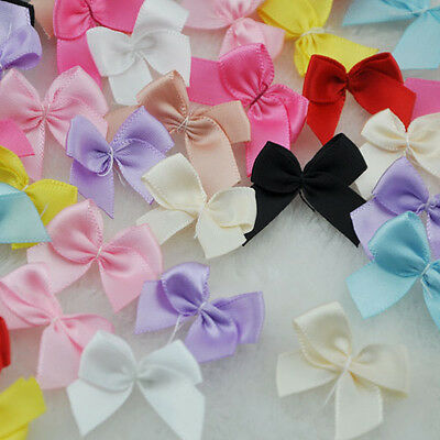 100pcs Mini Satin Ribbon Flowers Bows Gift Craft Wedding Decoration Upick F176