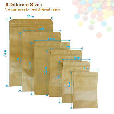 Kraft Paper Bag Packaging Window Stand Up Pouch 7 size Zip Lock Resealable Seal