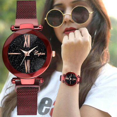 Fashion Women Starry Sky Stainless Steel Mesh Belt Casual Quartz Analog Watch