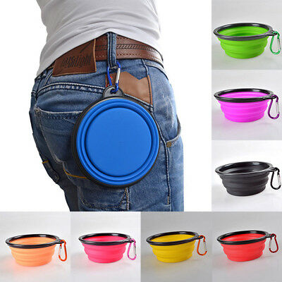Portable Travel Collapsible Foldable Cat Dog Food Water Dish Bowl