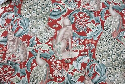 "WILLIAM MORRIS CURTAIN FABRIC  ""Forest Linen"" 3.6 METRES RED 100% COTTON"