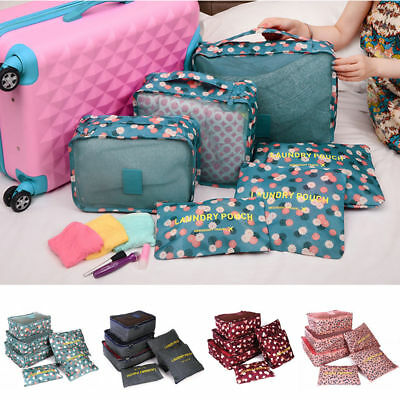6 X Waterproof Travel Storage Bags Clothes Packing Cube Luggage Organizer Pouch