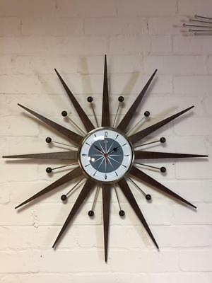 Large Mid Century Welby Style Starburst Clock in Mid Grey Hand Made in the UK