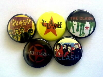 "5 x The Clash 1"" Pin Button Badges ( joe strummer punk rock music )"