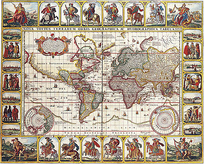 Map of the World 1652 A2+ High Quality Canvas Art Print