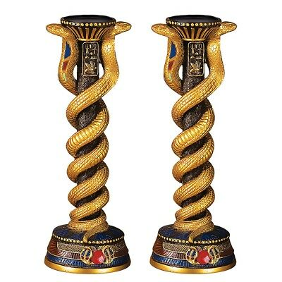 Ancient Egyptian Candle Holders Set Of 2 Cobra Snakes Hieroglyphic Candlesticks