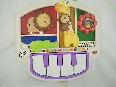Fisher Price Luv you Zoo Crib to Floor Piano Keyboard Musical Cot Toy Soother