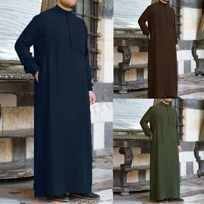 Mens Casual Kaftan Long Baggy Dress Shirts Arab Islamic Dishdasha Thobe Robes AU