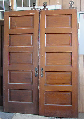 Turn Century Pair Oak Five Panel 7' x 30 Pocket Doors Rollers Ornate Hardware
