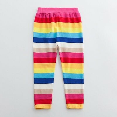 Kids Baby Girls Rainbow Striped Long Pants Trousers Leggings Cotton Casual Cute