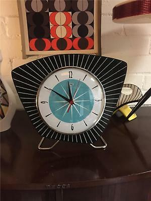 MidCentury Retro Atomic style Asymmetric Formica Mantle Clock Hand Made in UK