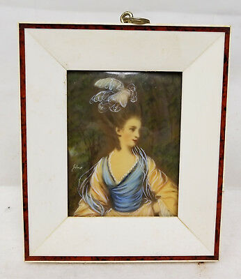 Antique Vintage French Miniature Portrait Painting Framed Signed Silver