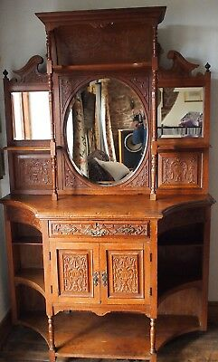 Edwardian Mirror Backed and Carved Chiffonier Dresser