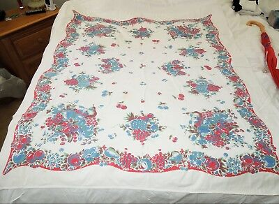 """Vintage 50's 60's Tablecloth Cherries & Fruit Red Blue Green~50"""" x 58""""~WOW!"""