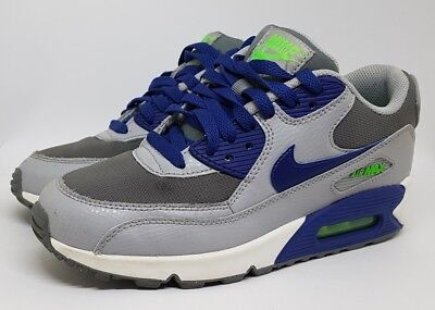 new product 1ebf8 4573e Nike Air Max 90 Size UK 5.5 Grey Green Purple 724824 Unisex Trainers VGC
