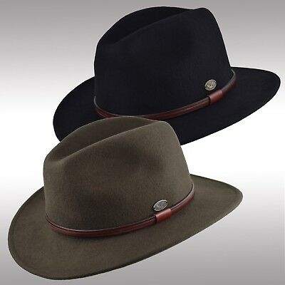 638c0261ff8 Premium Quality Men s Felt Wool Outback Fedora Indiana Jones Crushable Hat  Fhe61