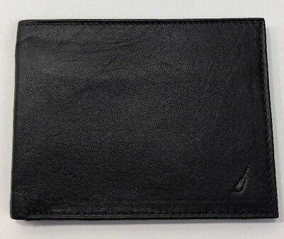 Nautica Black Leather Bifold Wallet Card Holder