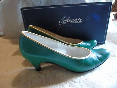 5e372895b7da Johansen Pumps Heels Womens Green Leather Dress Shoes Size 6 1 2 Vintage