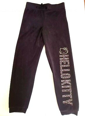 HELLO KITTY Girl's Black Velour Stretch Graphic Joggers Size 7/8