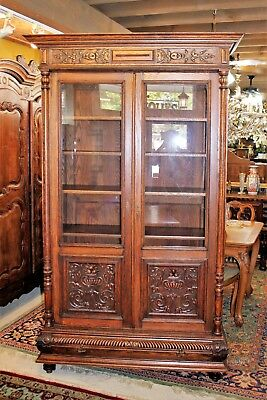 French Antique Oak Renaissance Henry II Bookcase / Display Cabinet