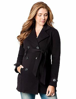 NWT Motherhood Maternity French Terry Black Peacoat Small