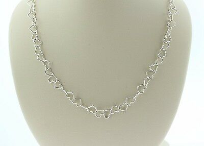 Paolo Romeo Italy 925 Sterling Silver Heart Link Chain Necklace - 16""
