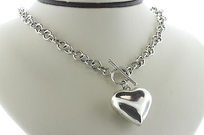 Puffy Heart Sterling Silver 925 Round Link Toggle Necklace - 16""