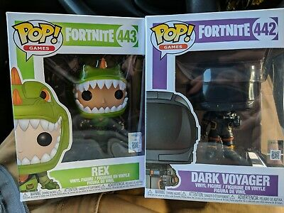 Funko Pop! Fortnite Rex #443 And Dark Voyager #442 In Hand