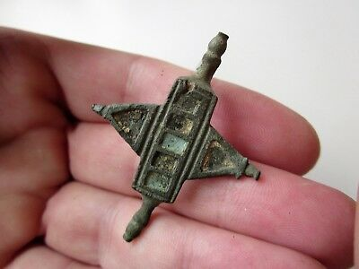 Ancient Roman bronze enameled and inlays zoomorphic shape brooch 2 - 3 A.D.(2)