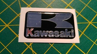 ***KAWASAKI 'K' BLACK / SILVER  CHROME STICKER BADGE 43mm x 24mm***