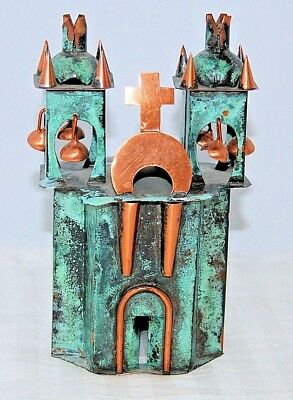 "Handcrafted Miniature Verdigris Copper Spanish Mission Church 6"" t  circa 1950s"
