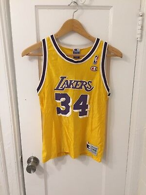 Vintage Champion LAKERS Shaquille O Neal Youth Large Jersey 14 16 Shaq NBA eae8e7b78