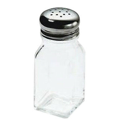 TableCraft Glass w/ Stainless Steel Top Salt and Pepper Shaker 2 oz | 12/Pack