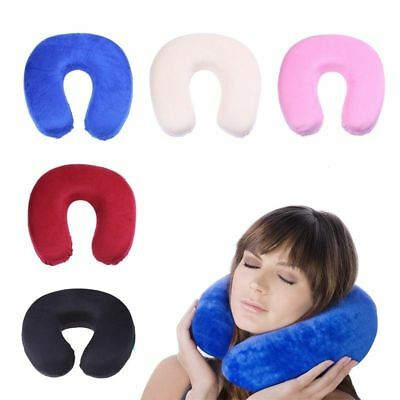 Soft Cushions U-Shaped Slow Rebound Memory Foam Travel Cotton Neck Pillows Solid