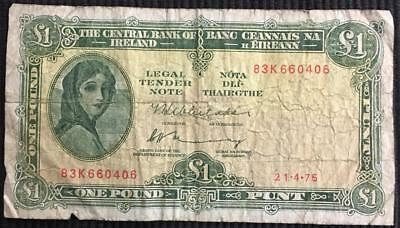 1975 Central Bank of Ireland 1 Pound Punt Lady Lavery Bank Note Circulated
