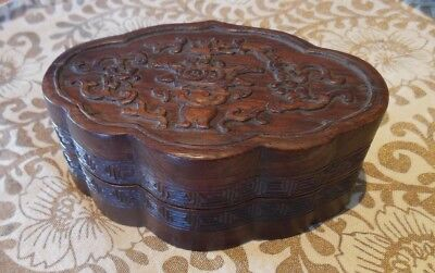 Vintage Chinese Huanghuali Hardwood Carved Box in Begonia Shape with Temple Vase
