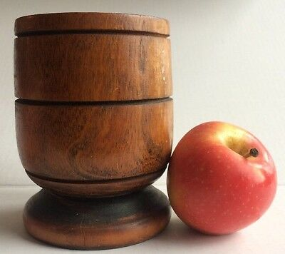 1800's antique WOODEN turned TREENWARE coin silver SPOONER - VASE posibly MORTAR