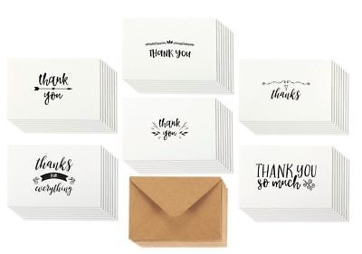 Thank You Note Cards Bulk Box Set Handwritten Style Blank Inside w/ Envelops 4x6
