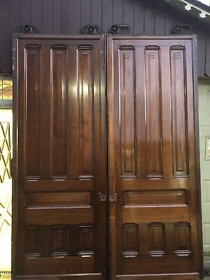 Amazing Pair Of Antique 1881  Pocket Doors- 8ft Wide By 9.5ft Tall With Hardware