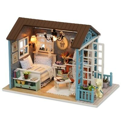 Doll Miniature Wooden House Studio Kit with LED Light Furniture DIY Handcraft