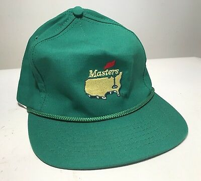 Vintage 1970 s Augusta National Masters Rope Bill Hat Green Leather Strap  USA ded61a50bb0